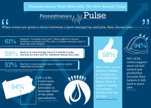 A breakdown of voter opinions concerning taxes, jobs, and Marcellus development.