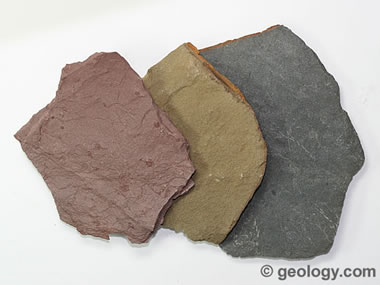 Shale rock can appear in many different colors.