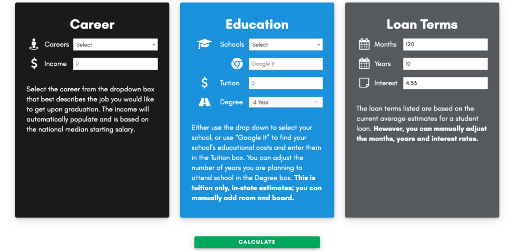 Your Career Starts Here Calculator